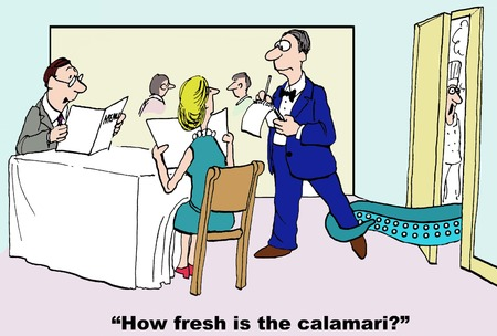 "cartoon of man asking waiter ""How fresh is the calamari?"", as it grabs the waiter around the leg."