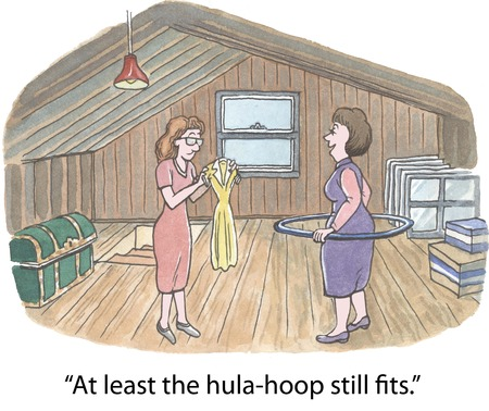 cartoon of overweight woman saying at least the hula hoop still fits