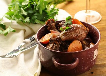 Coq au vin in a casserole dish