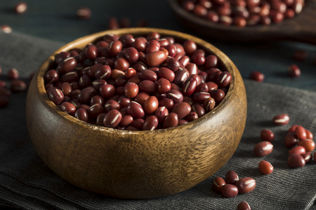photo of raw, organic, red aduki beans in a bowl