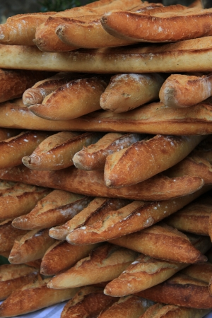 traditional French baguettes at the market
