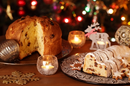 photo of Christmas panettone on the left and stollen on the right