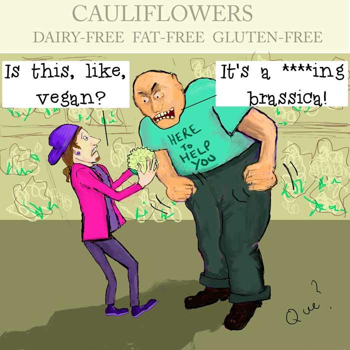 cartoon of a teen asking if a cauliflower is vegan