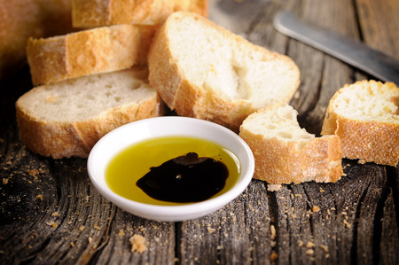 Olive oil and balsamic vinegar with bread