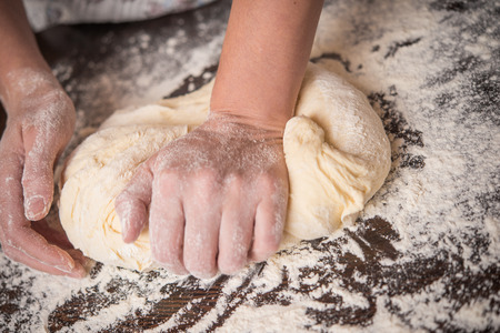 Hand-kneading bread dough